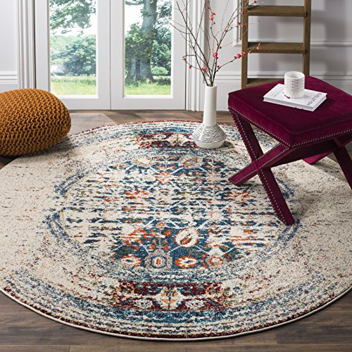 Safavieh Monaco Collection MNC208M Modern Abstract Erased Weave Ivory and Multi Distressed Round Rug (5' in Diameter)