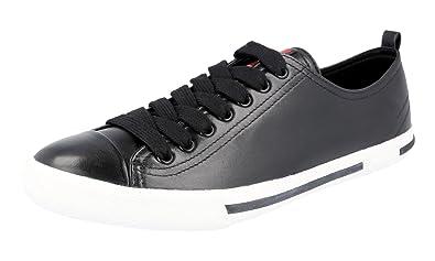 3bc3a040ab17 Prada Men s 4E2927 Black Leather Sneaker EU 6 (40) ...