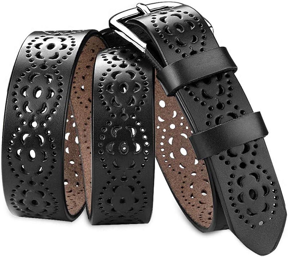 HBF Cintura Donna Regolabile ed Elegante in Pelle Accessori Abbigliamento Donna Cintura Traforato