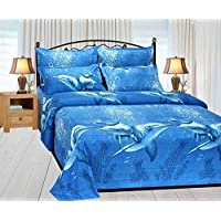 Weave Well Premium 3D Print Multi Color Double Bedsheet with 2 Pillow Covers