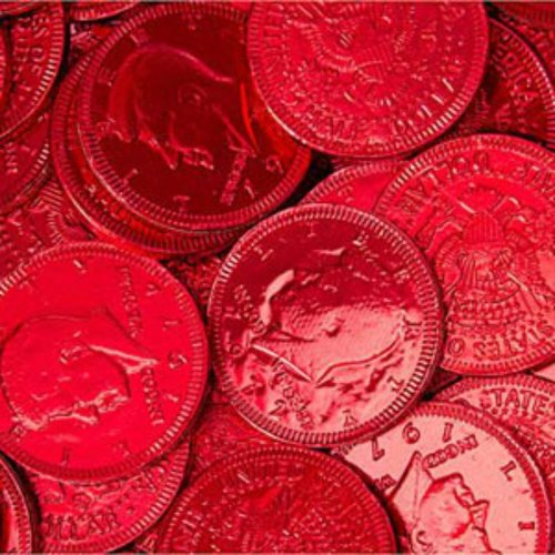Red Foiled Milk Chocolate Coins 1lb Bag