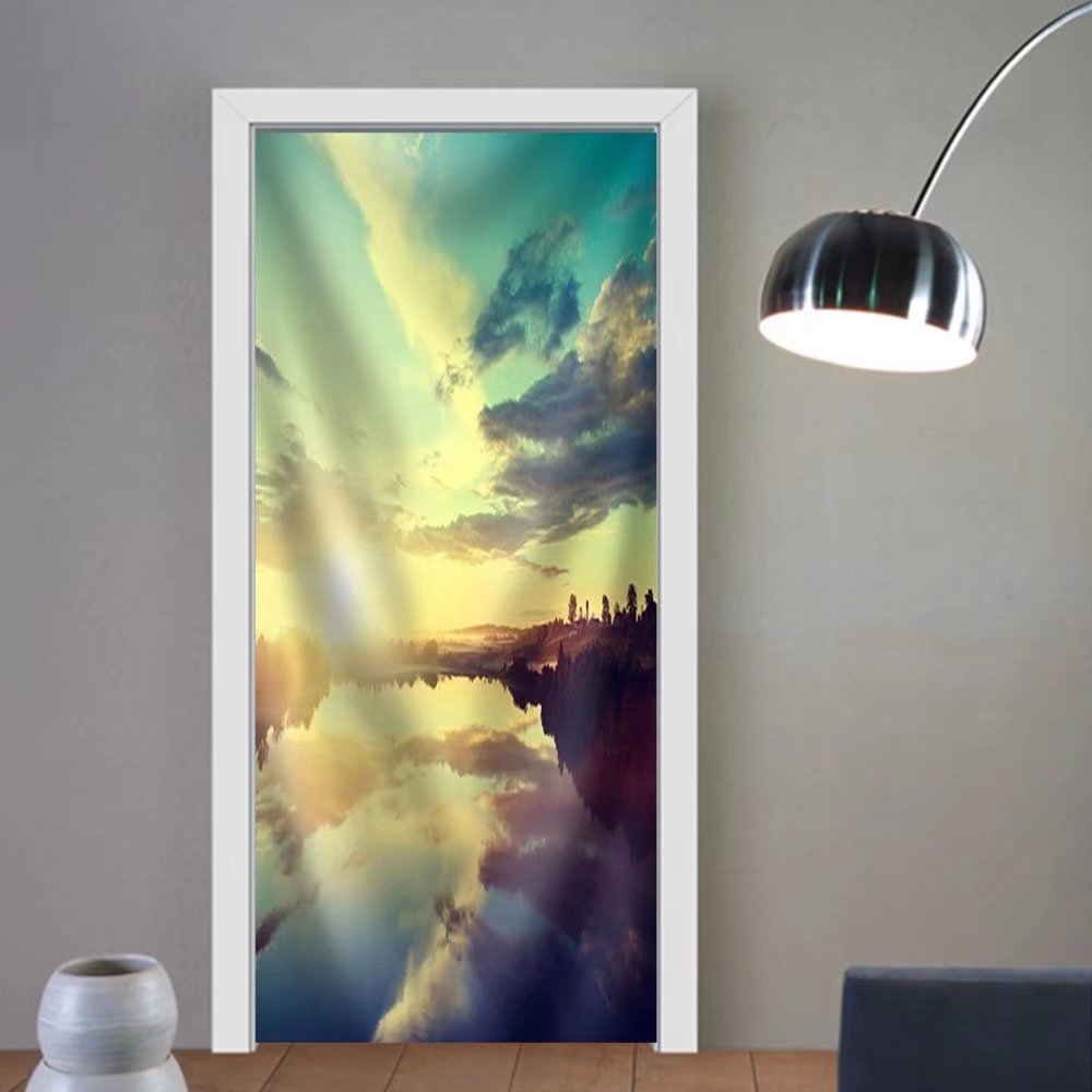 Niasjnfu Chen custom made 3d door stickers sunset on the river Fabric Home Decor For Room Decor 30x79