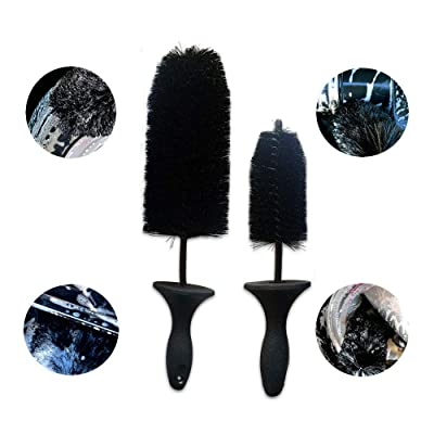 Halo Automotive Premium Wheel/Rim Cleaning Brush 17 & 13 Inch 2-Pack Black Bristle Premium 1-Piece Handle. Detail Wheels, Rims, Motorcycles, Brakes, Grills, Exhaust: Automotive