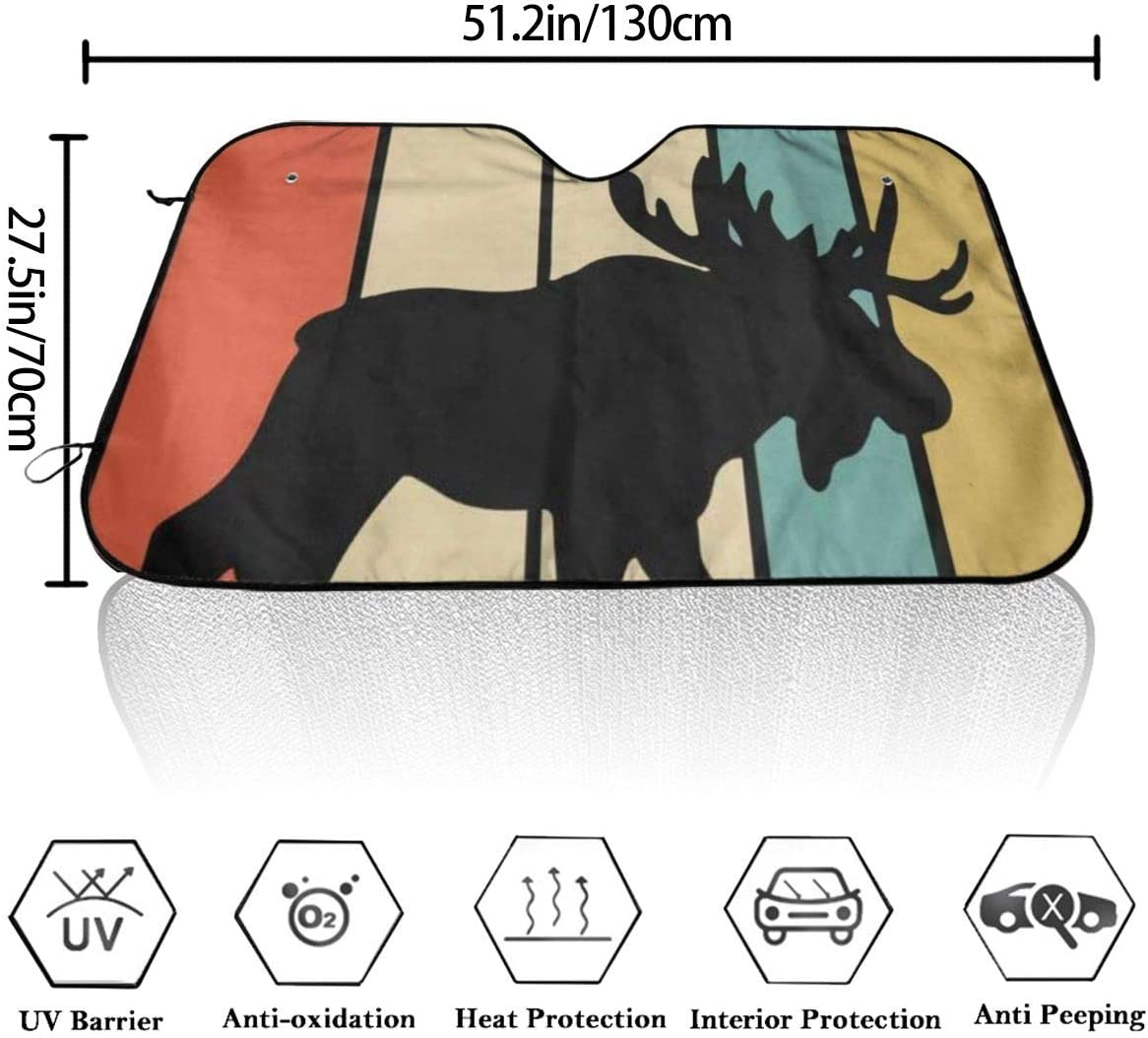DGbanma Windshield Sun Shade,Foldable Car Sun Shade for Windshield Keep Your Vehicle Cool Vintage Style Moose Silhouette