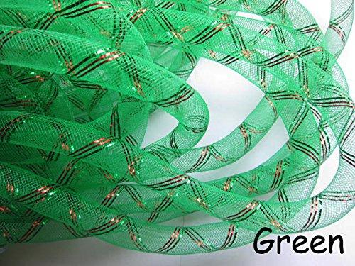 YYCRAF 10 Yards Solid Mesh Tube Deco Flex for Wreaths Cyberlox CRIN Crafts 16mm 5//8-Inch Hot Pink//Gold