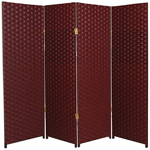 Oriental Furniture 4 ft. Tall Woven Fiber Room Divider - Red/Black - 4 (Accordian Panel)