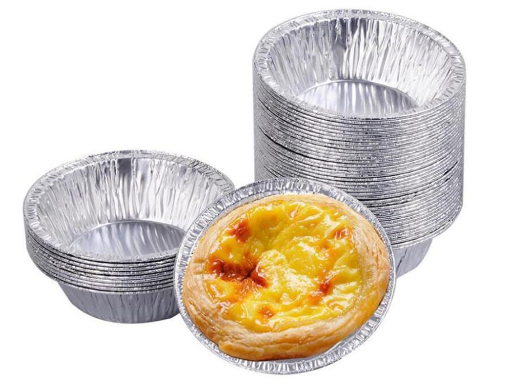 50PCS Disposable Aluminum Tinfoil Kitchen Egg Tart Mould Foil Paper Cups Tin Baking Tool Maker Holder Container For Cake Muffin Cupcake Cookie Pudding ASTRQLE