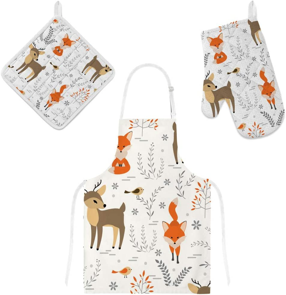 Top Carpenter Polyester Kitchen Oven Mitts Glove Potholder Apron 3Pcs Set Foxes and Deers Non Slip Heat Resistant Mitts for Baking Cooking BBQ