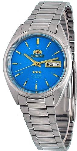 Orient #FAB00005J- Reloj automático de pulsera para hombre, 3 estrellas, acero inoxidable, esfera azul, fecha del día: Amazon.es: Relojes