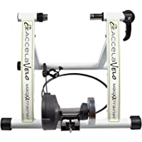 AccelaVelo Mag-XA Indoor Magnetic Bike Trainer – 6 Levels of Constant Magnetic Resistance & Quick Release Wheel Lock – Includes Handlebar Remote – Ride Your Bike Like A Pro Indoors – White & Black