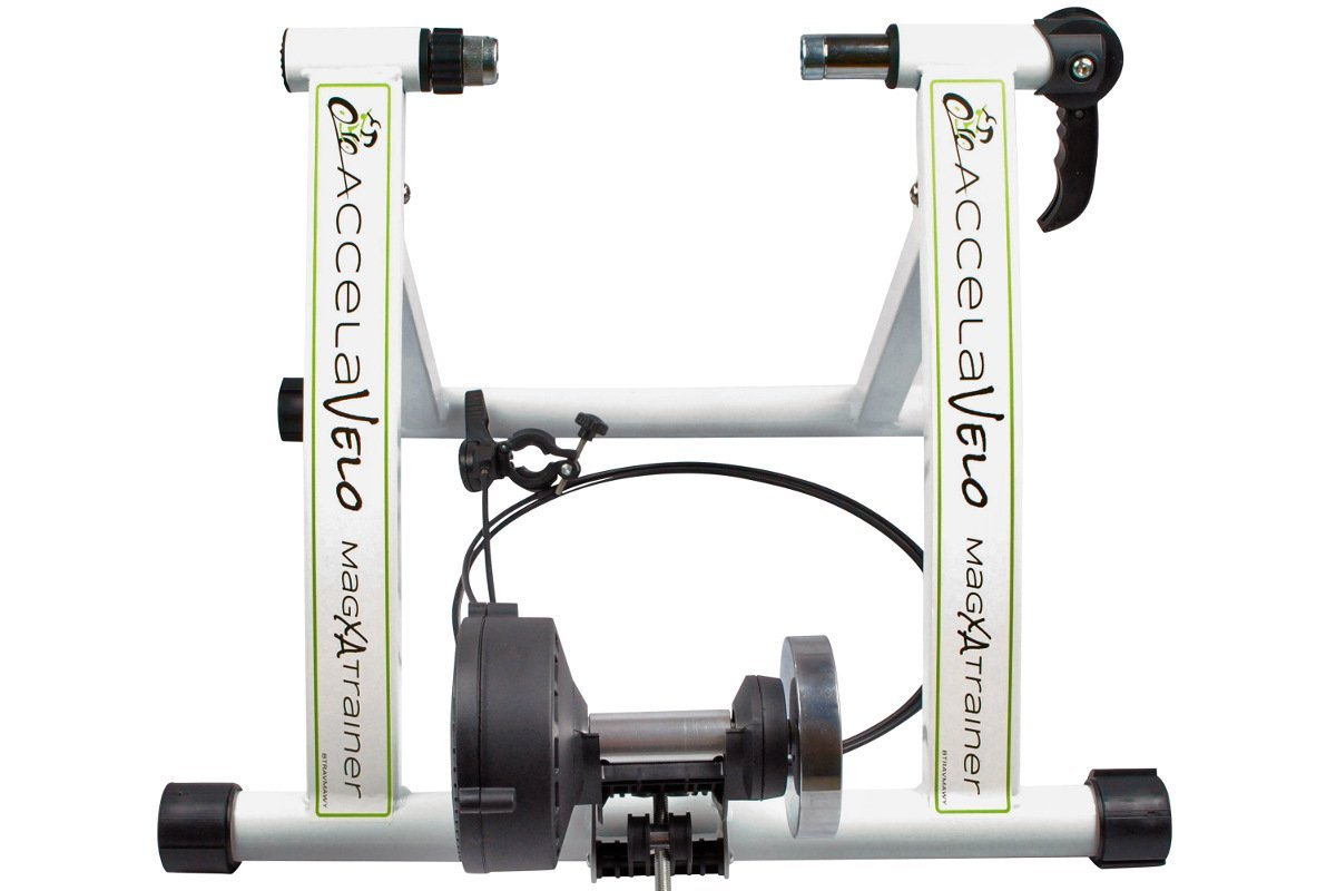 AccelaVelo Mag-XA Indoor Adjustable Magnetic Bike Trainer - 6 Levels Of Resistance - Handlebar Remote Is Included - Complete 2 Year Warranty