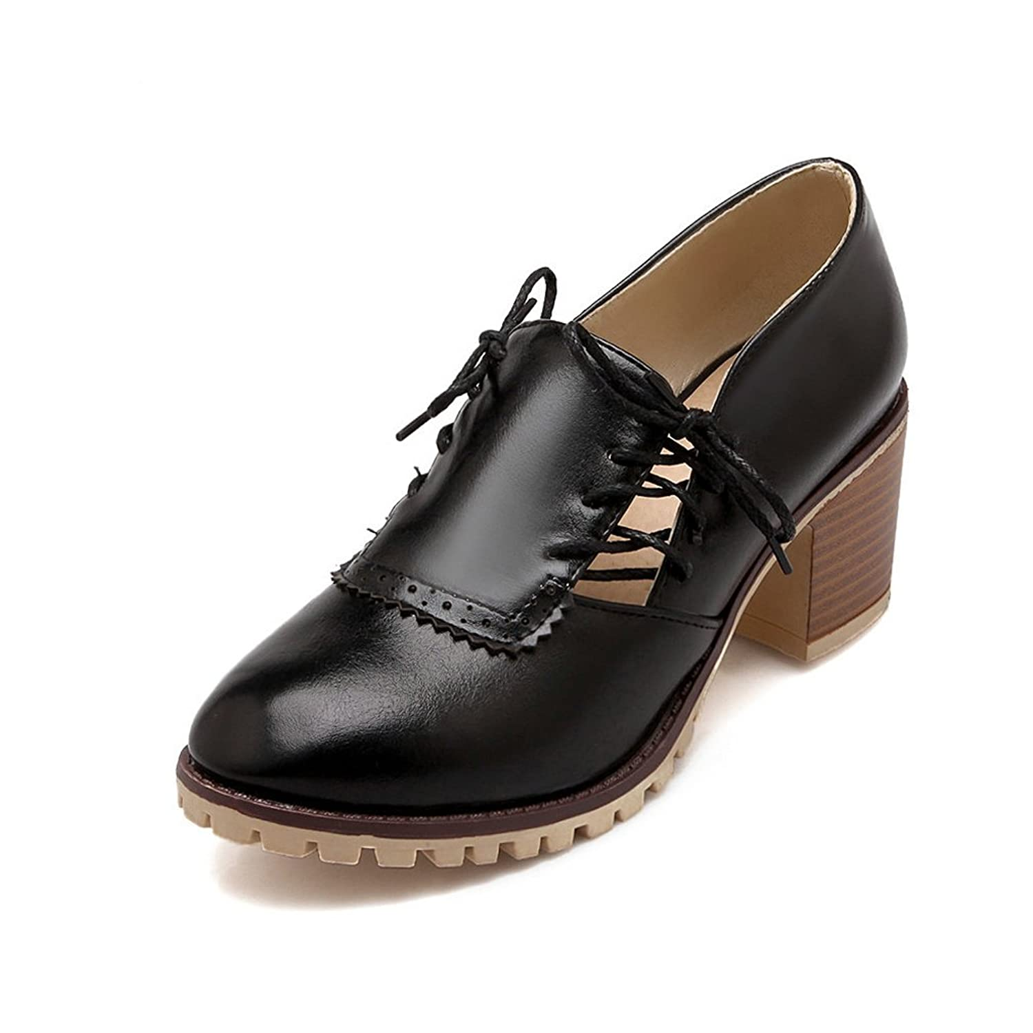 Ruisun Round Toe Lace-up Square Heel Fashion Women Oxford Shoes