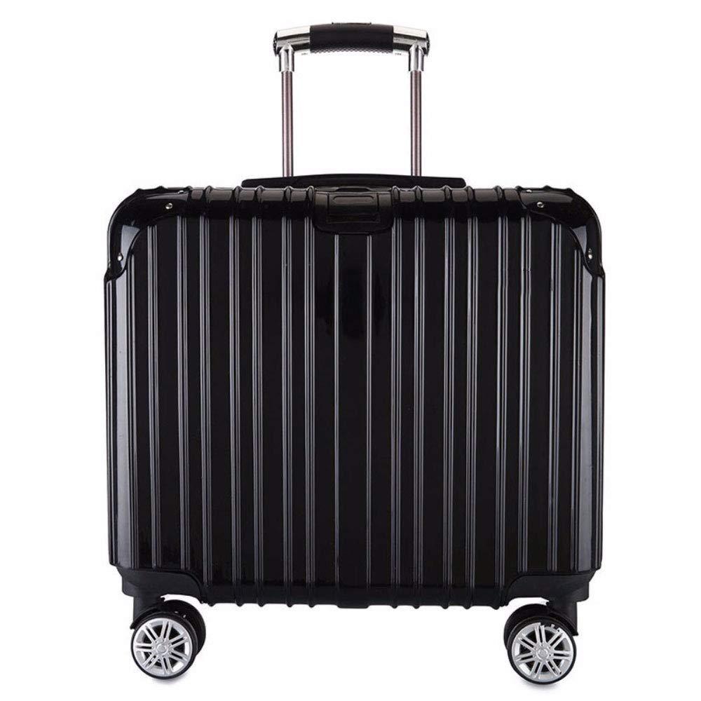 小さなスーツケーススチュワーデス搭乗ハンモック17インチビジネススーツケースの男性と女性のクロスセクショントロリーケース (Color : ブラック)   B07R1WDPG1