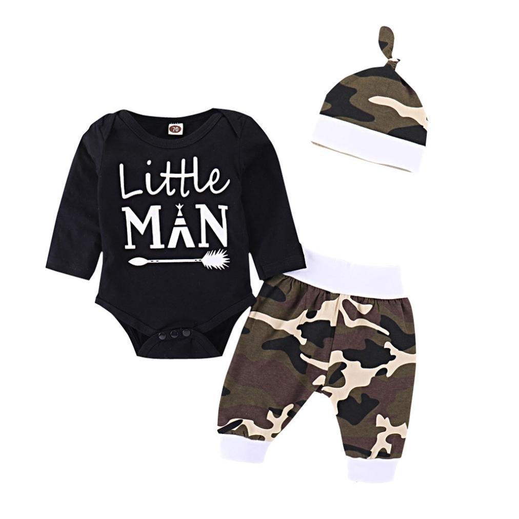 Kavitoz Newborn Infant Baby Boys Letter Romper Tops, Camouflage Pants Outfits Clothes Set Daily
