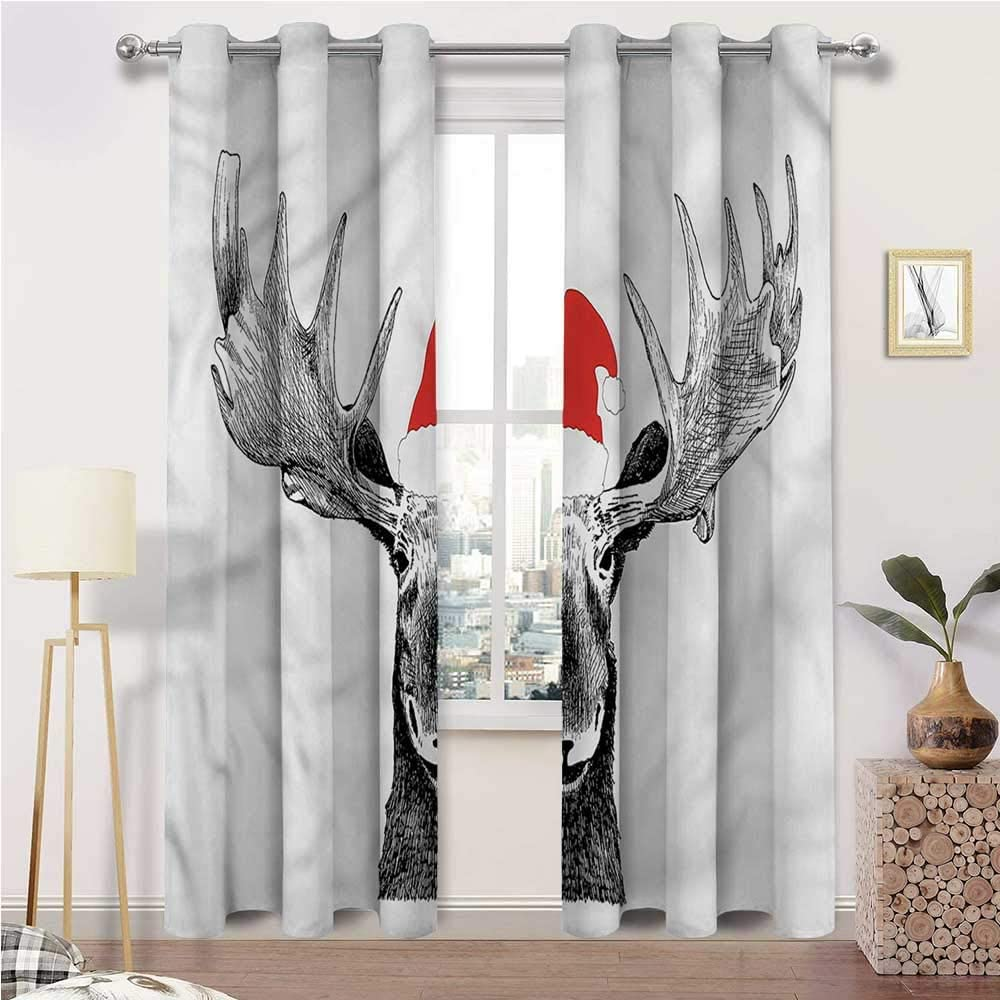 Interestlee Weatherproof Outdoor Curtains, Moose Grommet Drapes for Kitchen Cafe Decor, Christmas Animal with Antlers Set of 2 Panels, 72 Width x 96 Length