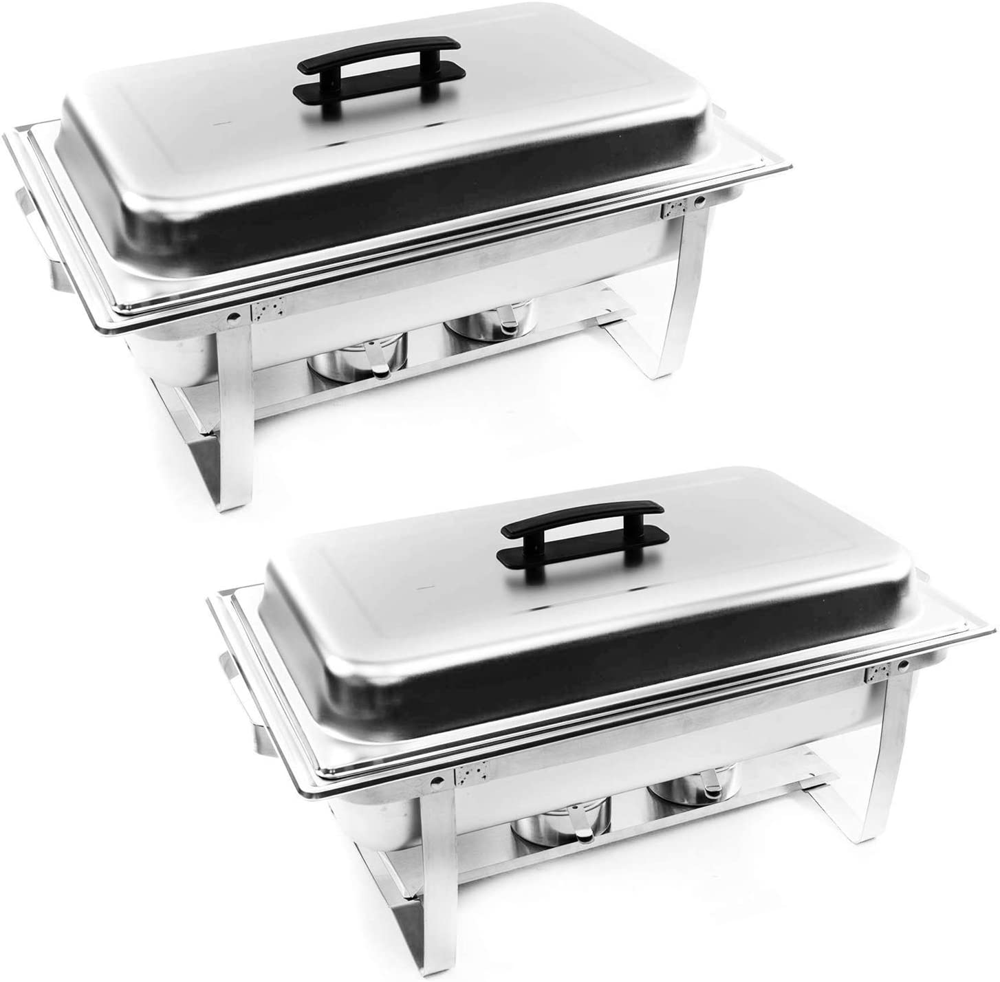 ALPHA LIVING 70012 2 Pack 8QT Chafing Dish High Grade Stainless Steel Chafer Complete Set, One Pack, white