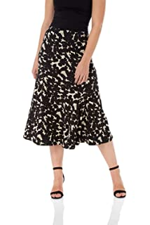 64119e70a Roman Originals Women Flared Midi Floral Pencil Skirt - Ladies Fashion  Jersey Flare Skirt for…