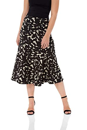 4b1151992a Roman Originals Women Flared Midi Floral Pencil Skirt - Ladies Fashion  Jersey Flare Skirt for Casual