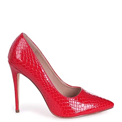 05ab0d6be98 Aston - Red Lizard Patent Classic Pointed Court Heel  Amazon.co.uk  Shoes    Bags