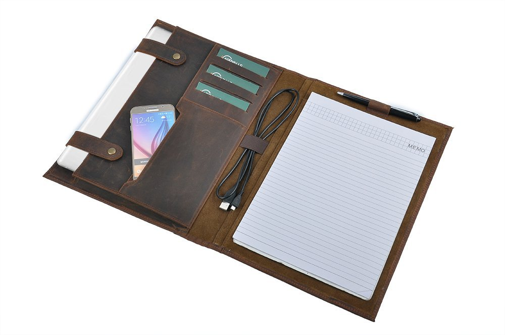 Custom Personalize Padfolio Leather Laptop Portfolio with Notepad Holder, Fits 13 inch MacBook Air/MacBook Pro,Brown