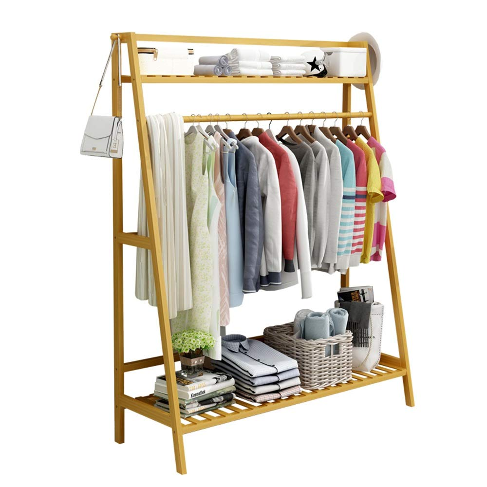 Byx- Wooden Coat Rack,Bamboo Clothing Rack Shoe Rack Multifunction Floor-Standing 2-Tier Storage Racks for Entrance Living Room Bedroom -Clothes Drying Rack (Size : 100x40x140cm) by Byx-