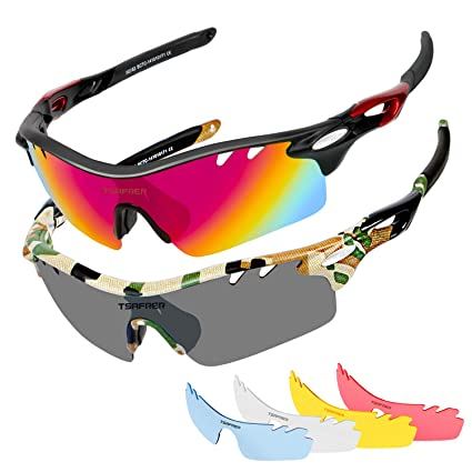 82e1a57705 Image Unavailable. Image not available for. Color  Polarized Sports  Sunglasses 2 Pairs for Men Women Cycling Running Driving Fishing Baseball  Golf Glasses