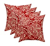 RSH Décor Set of 4 Indoor/Outdoor Square Throw pillows (17''x17'') (Red and Ivory Floral Silhouette)