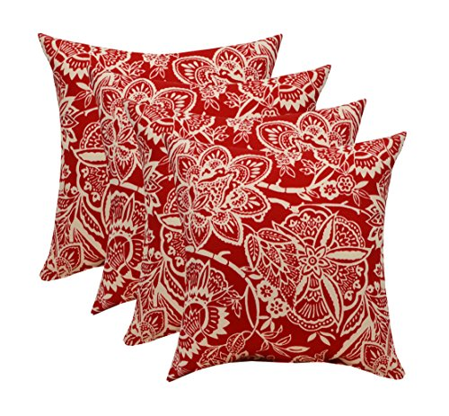 RSH Décor Set of 4 Indoor/Outdoor Square Throw pillows (17''x17'') (Red and Ivory Floral Silhouette) by RSH Décor