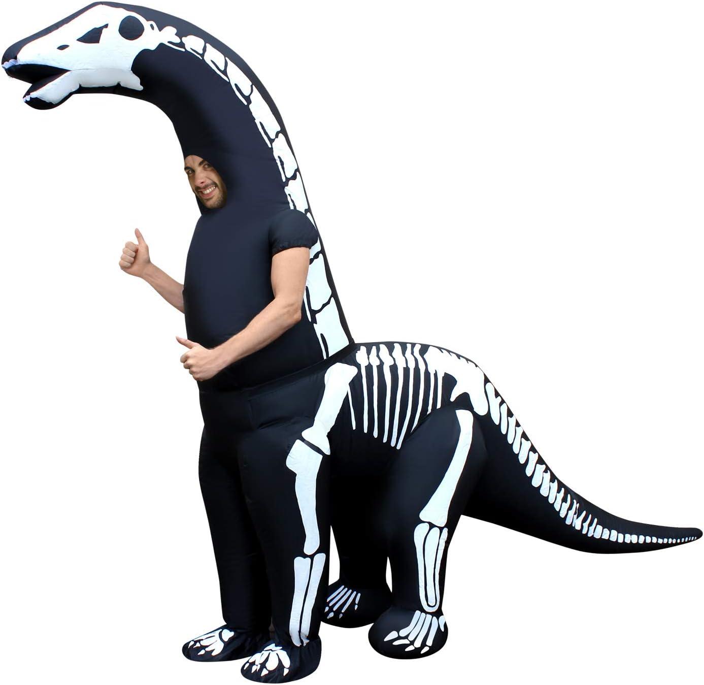 Morph Skeleton Diplodocus Inflatable Dinosaur Costume Adult Jurassic Giant - One Size