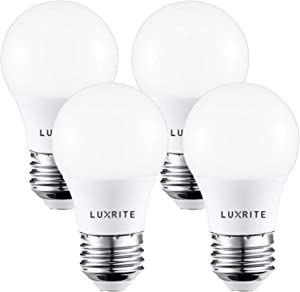 Luxrite A15 LED Light Bulb, 40W Equivalent, 2700K Soft White, Dimmable, 450LM, Medium Base E26 LED Light Bulb, Enclosed Fixture Rated, UL Listed - Perfect for Ceiling Fans and Home Lighting (4 Pack)