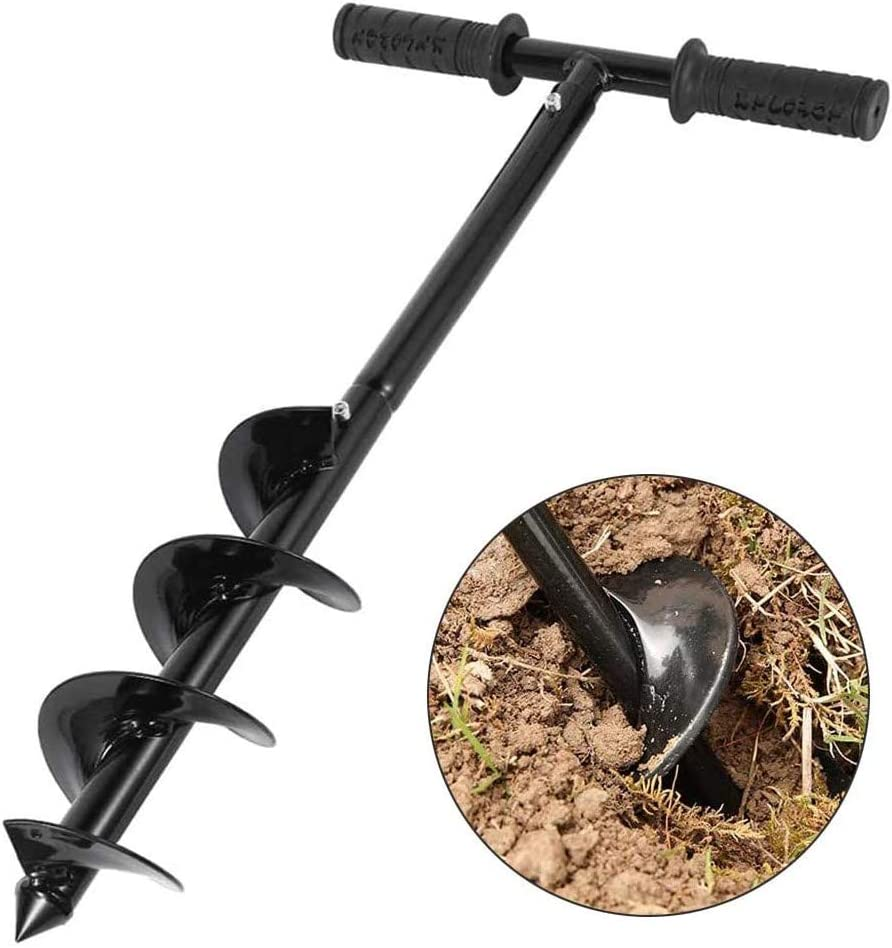 HilMe Auger Drill Bit,Garden Planter Manual Auger Ground Hole Digger Spiral Drill Bit Yard Hand Tools for Planting Tulips-10 x 60cm