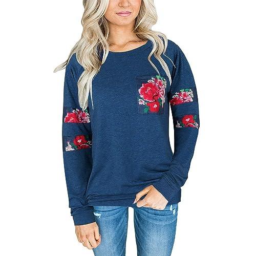 Sudadera de mujer suéter, Ularma Casual De Cuello Redondo Camiseta Floral Blusas y Tops De Las Mujer...