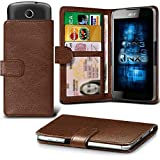 ONX3 (Brown) Samsung Galaxy A7 (2017) Case Universal Adjustable Spring Wallet ID Card Holder with Camera Slide and Banknotes Slot