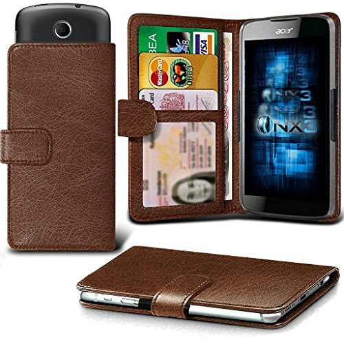 ONX3 (Brown) ZTE Tempo Case Universal Adjustable Spring Wallet ID Card Holder with Camera Slide and Banknotes Slot