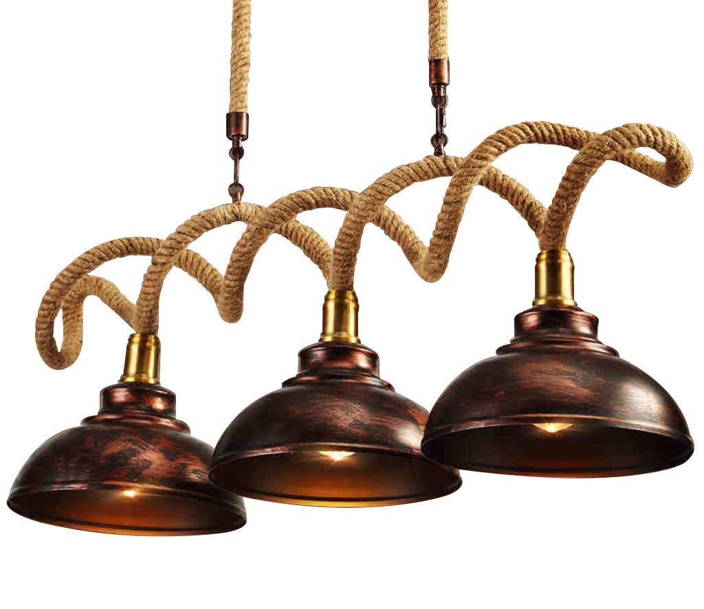 ペンダントライト|麻ロープランプボディアイアンランプシェードE27電球|リビングルームレストランバーカフェ吊りランプ100 * 35 cm B07TXV96TR
