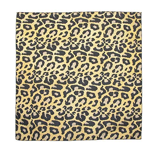 CTM Women's Cotton Leopard Print Bandanas, Tan (Animal Print Bandanas)