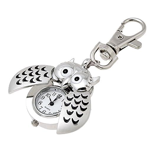 Amazon.com  uxcell Mini Key Ring owl Quartz Watch Clock- Silver  Watches f8e15e9fe