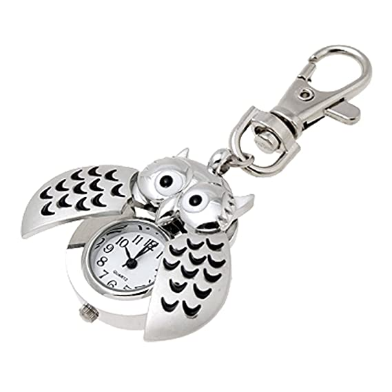 uxcell Mini Key Ring owl Quartz Watch Clock- Silver