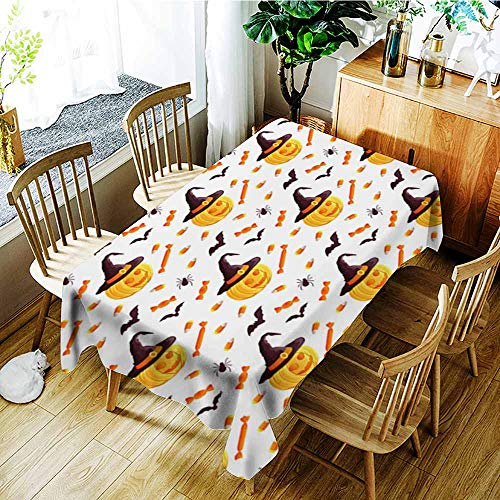 Tablecloth,Festive seamless pattern Halloween characters jack o lantern witch hat bat spider corn candy Vector illustration on a white background Usable for design packaging wallpaper textile,Party ()