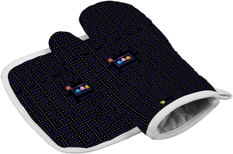 Retro Pac-Man Heat Resistant Glove Insulation Hot Pan Mat Kitchen Cooking Tool for Microwave Oven Baking Barbeque Men Women 2Pcs Set