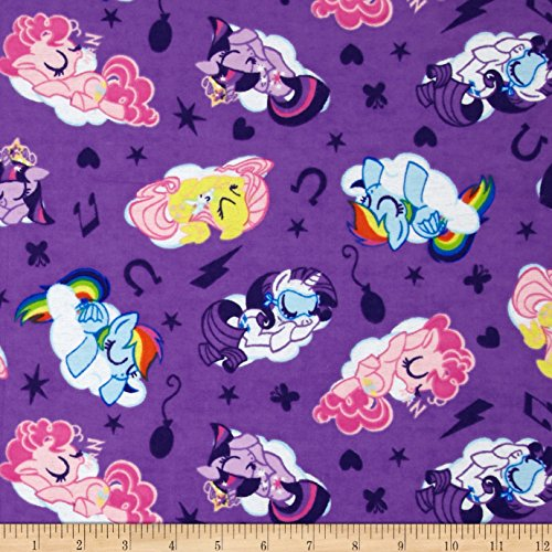 E. E. Schenck Hasbro My Little Traditional Flannel Sleeping Ponies Lavender Fabric by The - Licensed Flannel Fabric