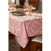 Toalha Para Mesa Com 04 Lugares Sala Jantar Tecido Grosso Jacquard 1,50m Rose