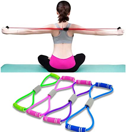 New Orange Exercise Sport Fitness Yoga 8 Shaped Pull Rope Tube Equipment Tools