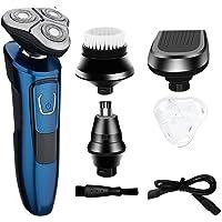 Máquina de afeitar recargable USB para hombre 4 en 1 Máquina de afeitar IPX7 Resistente al agua y al ataque de carrera Máquina de afeitar multifunción rotativa seca y húmeda y seca con barba