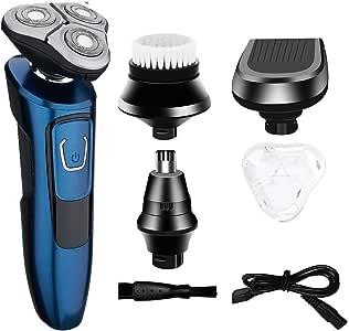 Máquina de afeitar recargable USB para hombre 4 en 1 Máquina de afeitar IPX7 Resistente al agua y al ataque de carrera Máquina de afeitar multifunción rotativa seca y húmeda y seca