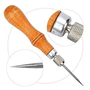 Awl Punch, DIY Handle Leather Sewing Awl Set Calabash Shape Handle Stitching Awls Leathercraft Hole Punch Tool