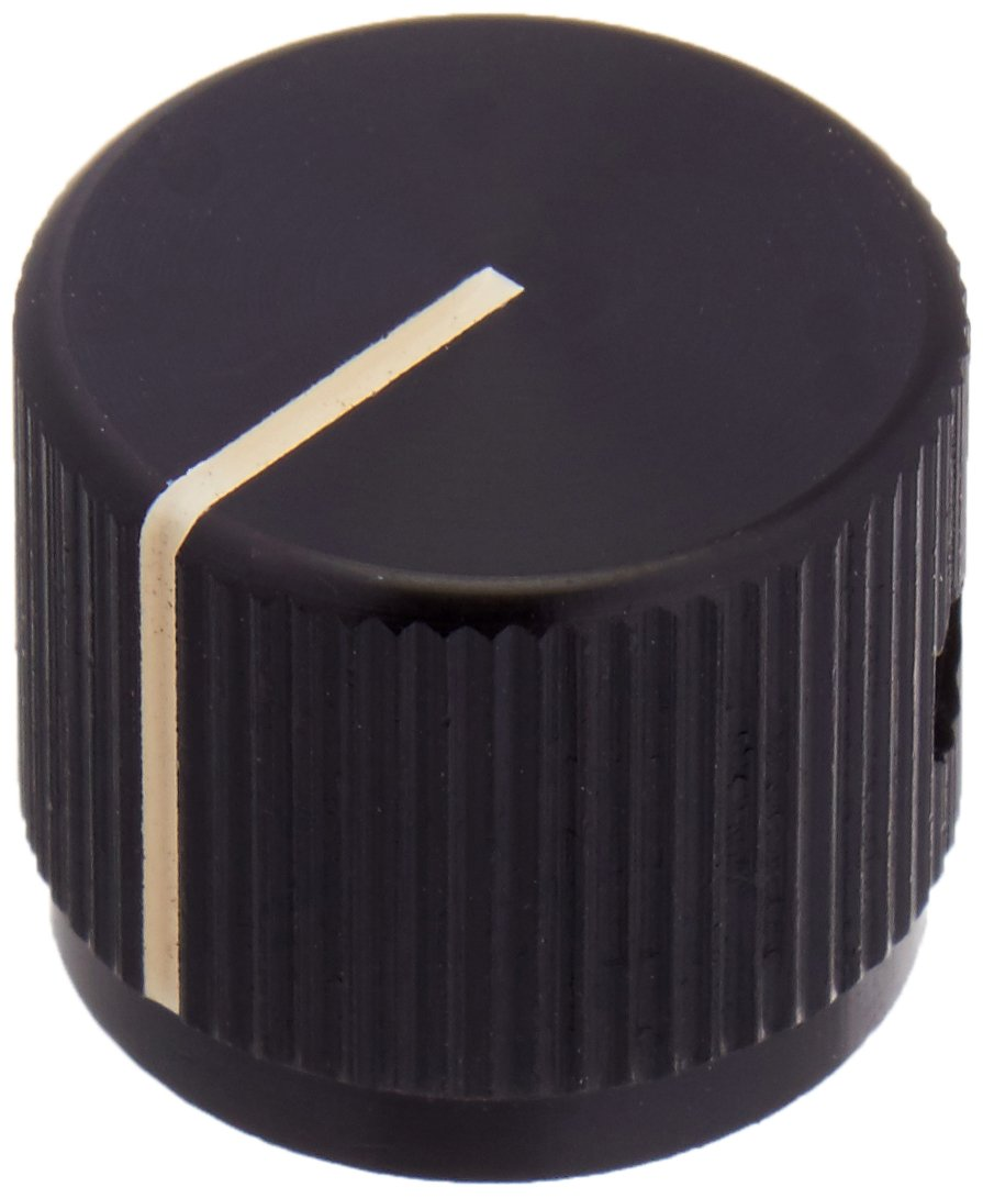 NTE Electronics 504-0037 Series JD Machined Aluminum Knob with Position Line, Gloss Finish, 0.750'' Diameter, 0.125'' Shaft Diameter, Black