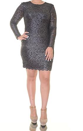 Lauren Ralph Lauren Silver Womens Sheath Lace Dress Black 8 At