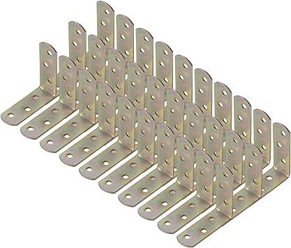 sourcing map 30 soportes de /ángulo de metal de 60 x 60 mm para esquina en forma de L soporte protector de esquina para muebles