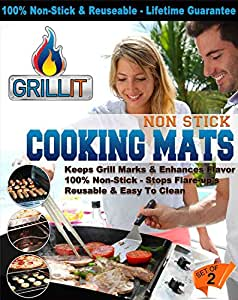 Grill It, Non Stick Mats For BBQ Grilling, Baking And Cooking! Made With PTFE Material (PFOA Free). Reusable, Dishwasher Safe. (2)